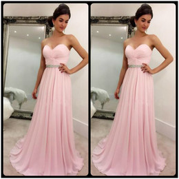 Wholesale Strapless Dress Chiffon Belt - Pink Chiffon Prom Dresses Beaded Belt A Line Sweetheart Prom Party Dress Pleats Beaded Sweep Train Party Formal Gown Vestido