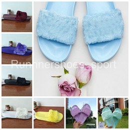 Wholesale Brown Bowtie - Fenty Rihanna Shoes Women Slippers Indoor Sandals Girls New Colors Fashion Scuffs Pink Black White Grey Fur Slides Without Box High Quality