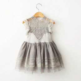 Wholesale Tulle Crochet Tops Wholesale - Kids Girls Lace Dress Baby Girl Puff Sleeve Summer Ball Gown Dresses Princess Fairy Tulle Party Dance Dress Crochet Flower Tops Tutu dress