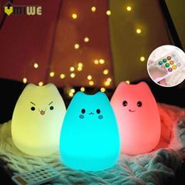 Wholesale Touch Sensor Bulb - Colorful LED Children Animal Cat Touch Sensor Night Light Remote Control Baby Nursery USB Adjustable Nightlights Lamp For Kids