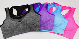 Wholesale Women Breast Without Bra - Hot New arrival fashion professional Women shockproof run vest with breast without rims fitness sport bra