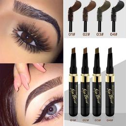 forro marrom Desconto Mulheres Sobrancelha Maquiagem À Prova D 'Água Lápis Cosméticos Sobrancelha Eye Liner Ferramentas 2em1 Cores Marrons