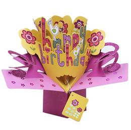 Greeting card printing online-Tarjeta de cumpleaños tridimensional del bebé de la luna llena Tarjeta de felicitación 3D Impresión en color Día de San Valentín Tarjeta de Rose DH12