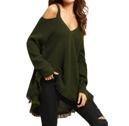 Senhoras casual jumpers à venda-2016112126 Casual pulôveres Jumper Para Mulheres Outono Loose Ladies Plain Exército Verde Cold ombro manga comprida Sexy Knitted Sweaters