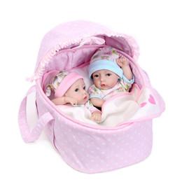 """Wholesale Realistic Silicone Baby Doll - 11"""" Realistic Reborn Baby Dolls Newborn Lifelike Soft Silicone Vinyl Dolls Mini bath toy boys + girl + basket dolls"""