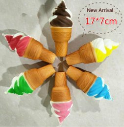 Wholesale Cute Cell Charms - Free Ship 20pcs 17*7cm Cute PU Ice Cream Squishy Food Charm Slow Rising Cell Phone Straps Fashion Squishies Bag Pendant Chirstmas Gift