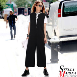 Wholesale European Ladies Jumpsuits - Wholesale- New European Women Spring Black Gray Solid Jumpsuit Sleeveless Front Zipper Opening Full Length Casual Ladies Wear Style 2292