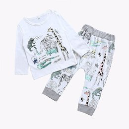 Wholesale Girl Giraffe - 2017 New Baby Boys Outfits Autumn INS Cartoon Toddler Clothing Sets Casual Sports Suits Elephant Tops + Giraffe Tights 3pcs Suits C2164