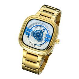 Wholesale Square Design Branded Watches - New Design Top Brand Luxury Strainless Steel Strap Quartz Watch relogio masculino Hollow Business Watch Men Sport Wristwatches Christmas