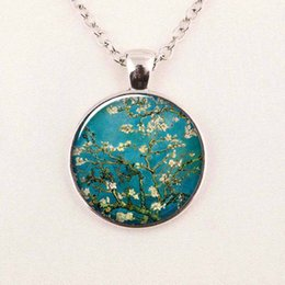 Wholesale White Wedding Almonds - Van Gogh Almond Branch in Bloom art pendant, bridal jewelry wedding famous painting necklace