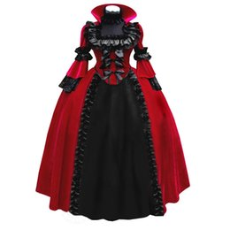 Wholesale Victorian Collar Ruffle - Can be custom 2015 Retro Red Blue Long Sleeve Stand Medieval Period Renaissance Lace Victorian Gothic Lolita Dresses