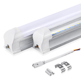 Wholesale T8 Tube Light Clear Cover - LED Integrated Tubes T8 4ft 2ft 1.2m 600mm 1200mm Tube Light 10W 22w LED Bulb Tube LED Lights Lamp SMD2835 Lighting Clear Milky Cover 85-265