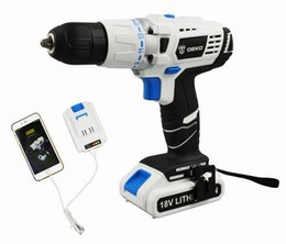 Wholesale Dc Drill - 2016 18V DC New Design Mobile Power Supply Lithium Battery Hammer Cordless Drill Power Tools Impact Electric Drill