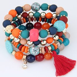 Wholesale Candy Charms For Bracelets - Bohemian Bracelets for Women Tassel Charm Bracelets & Bangles Candy Color Bijoux Multilayer Pulseira Feminina Bracelets