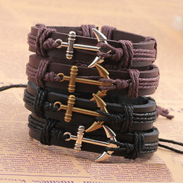 Wholesale wholesale anchors - Genuine Leather hook boat anchor bracelets adjustable wristband bangle cuffs for women men punk jewelry Gift