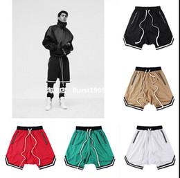 Wholesale Stripe Sweat - 2017 NEW best version Justin Bieber Fear of God fog Casual Sporting stretch sweat jogger shorts hip hop men stripe mesh splicing shorts S-XL