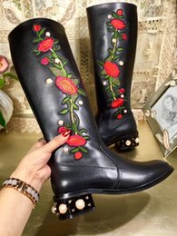 Wholesale Flat Black Thigh High Boots - Embroidery Flower Thigh High Boots Female Block heels Genuine leather Brand Designer Womens Long Boot