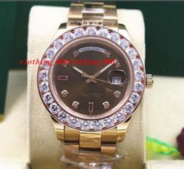 Wholesale Rubies Watch - Fashion Luxury Wristwatch 118205 Mens Everose Gold Chocolate Diamond & Ruby 41MM Bigger Diamonds Watch Automatic Men
