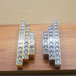 Wholesale Crystal Cabinet Door Pulls - 2017 Golden Silver Modern Zinc alloy crystal door knobs handle furniture cabinet kitchen mini drawer pulls pitch row 64 96 128mm #203