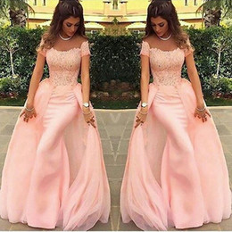 Wholesale Long Off White Lace Gown - Long Evening Dresses 2017 Mermaid abendkleider Lace Pink Formal Prom Dress Arabic Evening Gowns robe de soiree