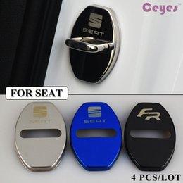 Wholesale Blue Glues - 4PCS LOT Car Door Lock Cover Emblems for FR For SEAT leon ibiza altea alhambra Car Lock Protector Car Styling Accessories