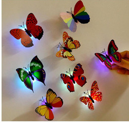 Wholesale plastic bar supplies - Led Colorful Butterfly Night Light New Indoor Flashing Wall Lights Wedding Bar Room Christmas Party Festive Decoration Supplies Home PX-T09