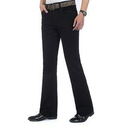 Wholesale Black Jeans Men Bootcut - Wholesale- Free Shipping High Quality New Arrival Men's Jeans Slim Bell-bottom Boot Cut Pants Male Elastic Black Denim Flares Trousers
