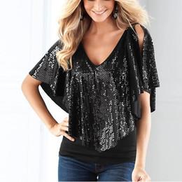 2019 блестящие рубашки Wholesale- Women Lady Beautiful Sequin Sparkle Shawl Glitter Stretch Cotton Tops Short sleeve T-Shirts скидка блестящие рубашки