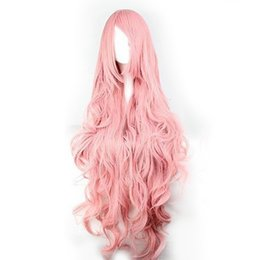 Wholesale Wigs Volume - Hair Pink Wigs Air Volume High Temperature Soft Silk Bulk Hair Long Curly Big Wave Hair synthetic Wig Cosplay