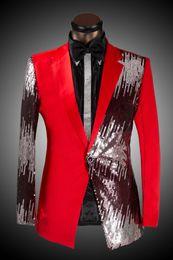 Wholesale Wedding Suits Pants Price - Wholesale- Sale Price ! Men's Blazer Men Slim Sequined Suit Bridegroom Wedding Dress Singers Costumes ! (suit+pant) M-6XL free shipping