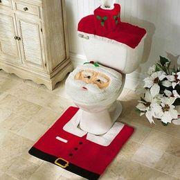Wholesale Free Shipping Bathroom Sets - Wholesale-New XMAS Santa Toilet Seat Cover + Rug Bathroom Mat Set Christmas Decorations Free Shipping Wholesale