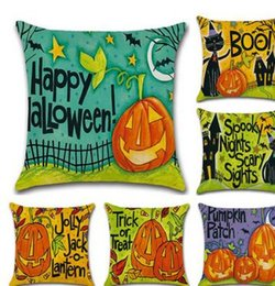 Wholesale Cushion Cover Cores - new style Halloween creative cartoon pumpkin linen cove pillow case cushion cover free shipping No pillow core