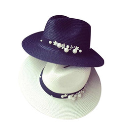 Wholesale Bead Sun - Spring Summer Hats For Women Flower Beads Wide Brimmed Jazz Hat Sun Beach Hat Cap