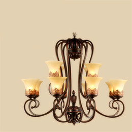 Wholesale Brown Lampshade - Island Country Vintage Style Chandeliers Flush Mount Ceiling Pendant Lamps E27 Painting Lighting Fixture Lamp Glass Lampshade