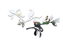 Wholesale Tree Life Wall Sticker - 3D Crystal Acrylic Birds standing on the tree branch pattern Mirror Wall Stickers Kids Room Living Room Decoration Wall Stickers