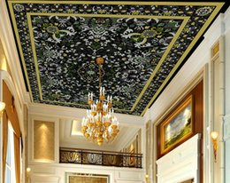 Folhas verdes papel de parede on-line-Moda 3D Teto Fine Green folhas Mural papel de parede Home Improvement Ceiling Papel De Parede Para Sala de estar