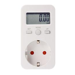 Wholesale Power Eu Meter - LCD Digital Plug-in Power Meter Energy Monitor Electricity Usage Monitoring Analyzer Socket EU Plug BI681-SZ
