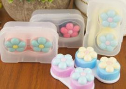 Wholesale Wholesale Black Contact Lens - Simple Cheap Eyes Contact Lens Case Colorful Lovely Cute Girls Flowers Cartoon Contact Lens Box