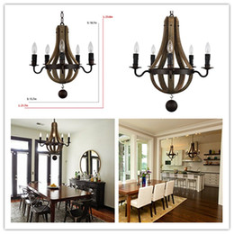 Wholesale Candle Pendant Style Lighting - Classic Appearance Antique-Style Wooden Pendant with Candle Lights Metal Chandeliers Excellent E12 Lamp Holder,CE,ROHS,UL,VDE Certification