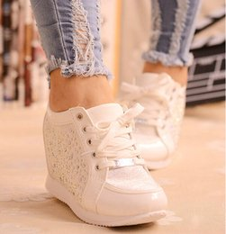 Wholesale Brown Hide - Black White Free Shipping Hidden Wedge Heels Fashion Women's Elevator Shoes Casual Shoes For Women wedge heel Rhinestone