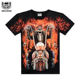 Wholesale Dragon Skull T Shirts - Wholesale- [Men bone] shirt men death skeleton figures rock t-shirts with Dragon Wolf skull angel short sleeves cotton free shipping