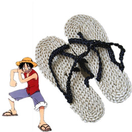Wholesale Costumes D Halloween - Monkey D. Luffy cosplay Straw sandals Japanese anime One Piece Straw sandals Halloween Masquerade Mardi Gras Carnival cosplay shoes
