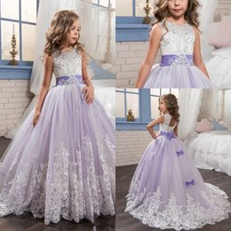 Wholesale Beautiful Beaded Ball Gown - 2017 Lace Appliqued Flower Girls Dresses Beautiful Purple and White Princess Dress Beaded Bows Pageant Gowns for Kids Wedding Party