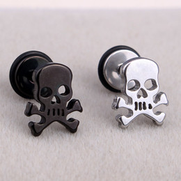 Wholesale Gothic Punk Stud Earrings - Fashion Punk Pirate Skull Ear Studs Stainless Steel Silver Black Gothic Skull Screw Stud Earrings Brincos Jewelry For Cool Men