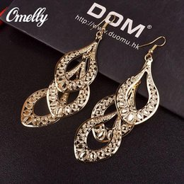 Wholesale 18k Gold Jewelry India Wholesale - Wholesale Jewellery 18K GP India Style Dangle Earrings Charm Lady Wedding Jewelry Gift Golden Silver Colors