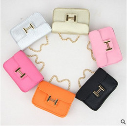 Wholesale Cute Purses Chains - New Fashion Baby Girls Princess Handbags Metal Chain Children Messenger Bag Cute Shoulder Bags Kid Crossbody Bag Purse Gift H222