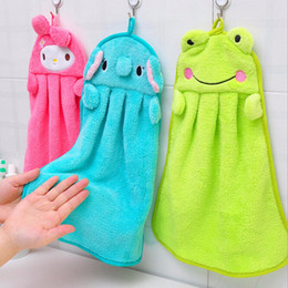 Wholesale Dishcloths Kitchen Towels - Super cute cartoon super soft coral velvet hand towel Kitchen hanging absorbent cloth dishcloth wiping cloth