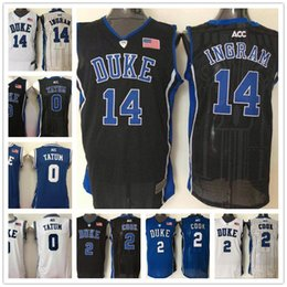 Wholesale Brandon Shirts - Men 0 Jayson Tatum 2 Quinn Cook 14 Brandon Ingram Duke Blue Devils Jerseys College Sport Basketball Shirts All Stitched