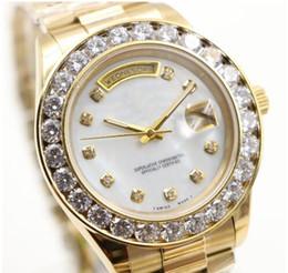 Reloj de hombre 18k diamante online-2017 President Day Date 18K Gold Perpetual moda reloj para hombre Gran diamante Bisel Oro Acero inoxidable correa original Automático hombres Relojes