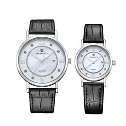 Wholesale Women Leather Watch - TWINCITY brand wristwatch Lovers Women Men quartz watch reloj chronograph Relogio brand dress leather automatic date Masculino wristwatches